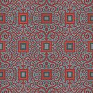Squares and Lace, Arabesque Pattern, Gray Terracotta by clipsocallipso