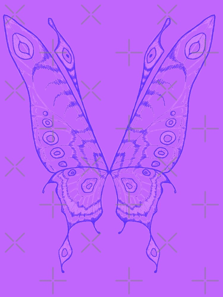 Fairy wings (Indigo linework on violet) by GriffinJDesigns