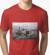 Camiseta de tejido mixto Aerial view of Manhattan, New York City, NY USA