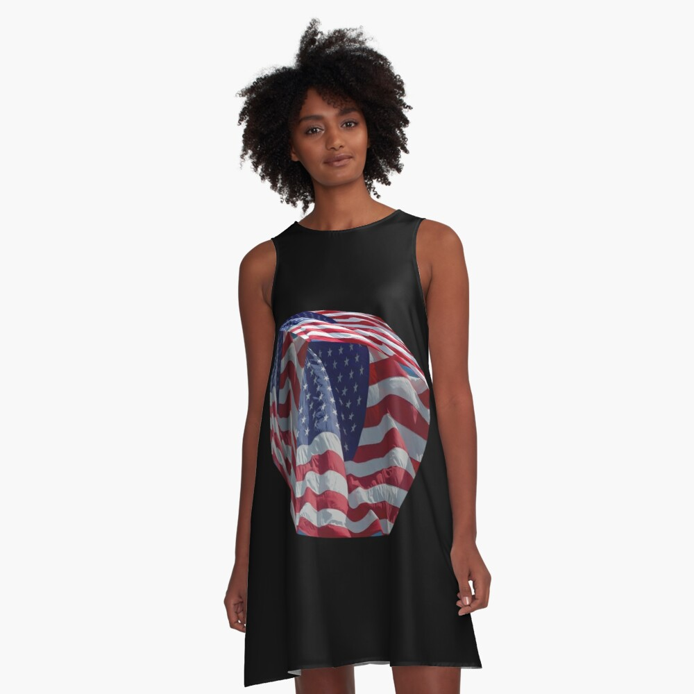 Stars and Stripes cubed. A-Line Dress Front