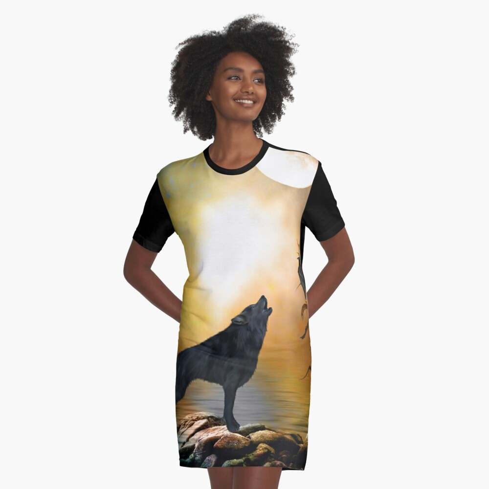 The lonely wolf Graphic T-Shirt Dress Front