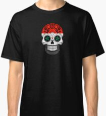 Sugar Skull with Roses and Flag of Syria Classic T-Shirt
