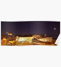 Panoramic night view of the Wailing Wall, Jerusalem.  Poster