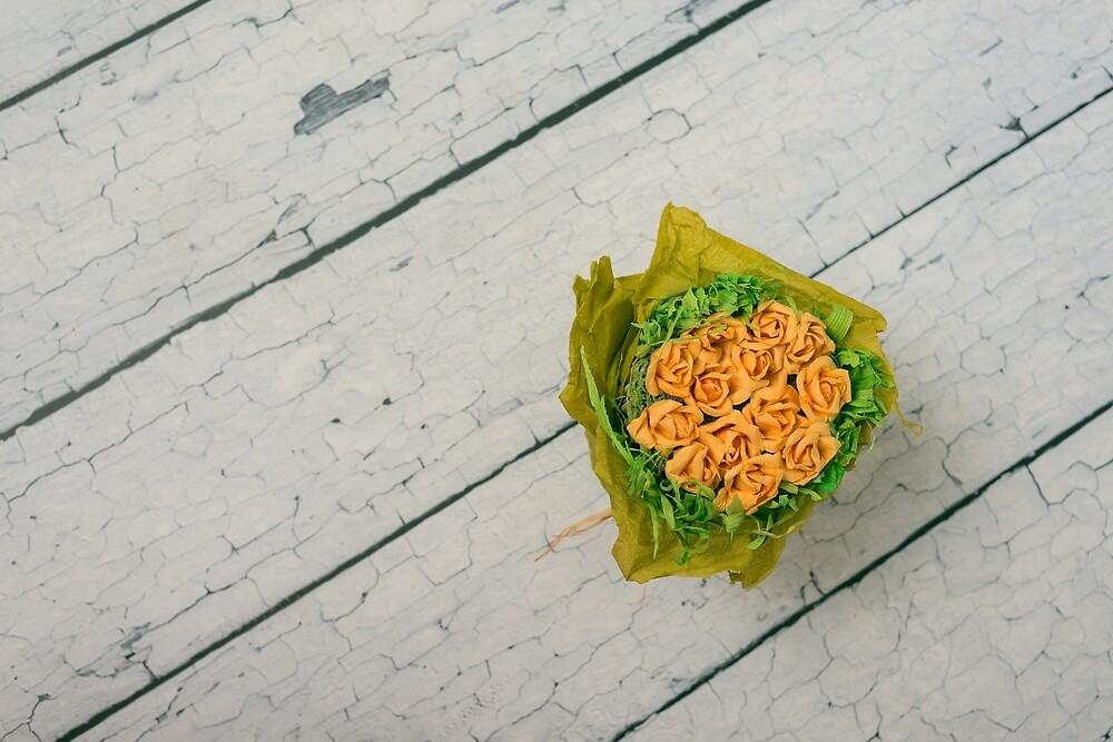Orange on gray by Mariia Kalinichenko