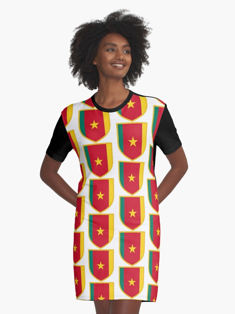 Cameroon Flag Graphic T-Shirt Dress Front