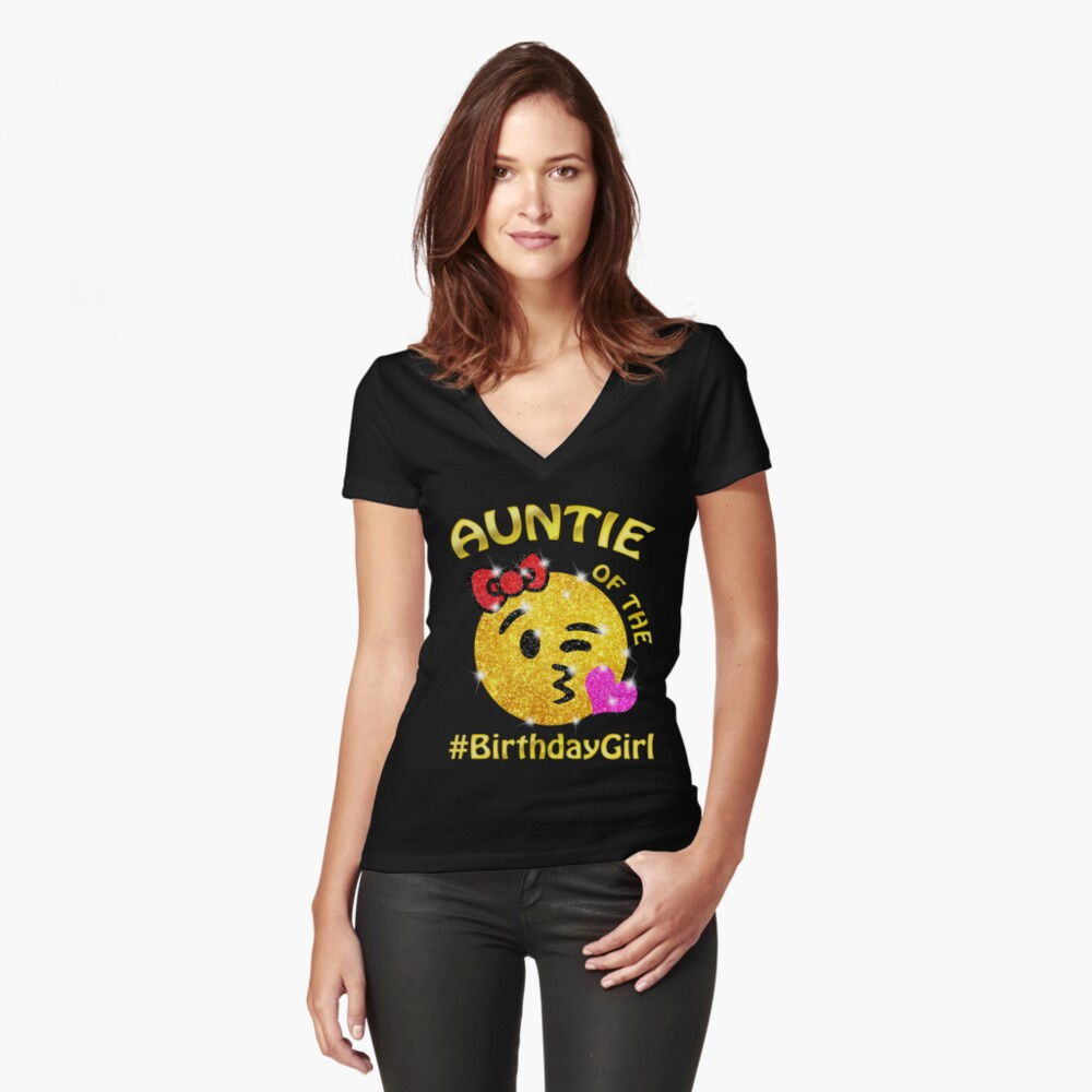 Auntie Of The Birthday Girl Emoji T-Shirt for cute Aunt Women's Fitted V-Neck T-Shirt Front