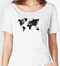 world map 94 black #worldmap #map #world Women's Relaxed Fit T-Shirt