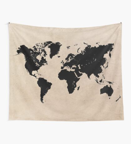 world map 94 black #worldmap #map #world Wall Tapestry