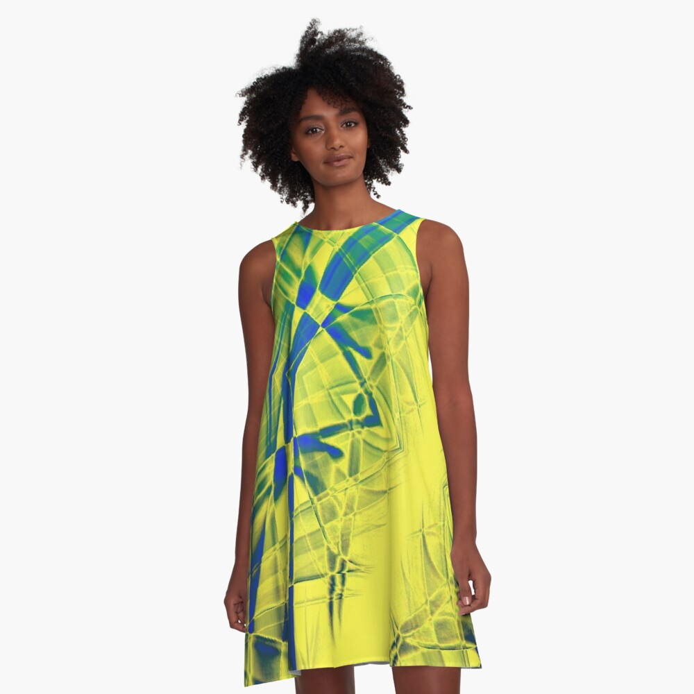 Recycled Smoke Abstract Design A-Line Dress Front