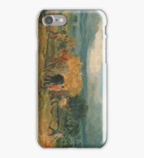 A Harvest Scene with Workers Loading Hay on to a Farm Wagon 1800 James Ward iPhone Case/Skin