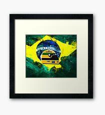 Senna with Brazil flag. Framed Print