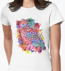 Rainbow owl Womens Fitted T-Shirt