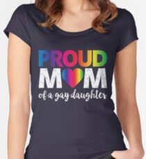 Proud Mom Of A Gay Daughter T-Shirt LGBT Rights Rainbow Flag Gift Women's Fitted Scoop T-Shirt