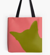Contrast cat yellow Tote Bag