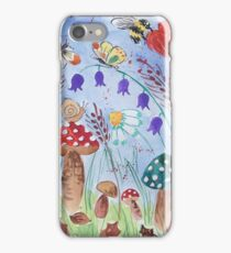 Mushrooms and Bumble bees iPhone Case/Skin