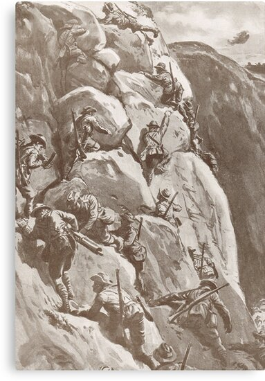 Climbing the cliffs at Gallipoli, 1915 by artfromthepast