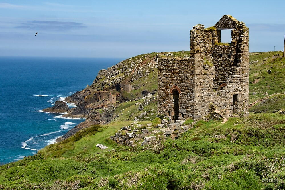 Mine engine houses at Botallack at St Just Cornwall by eddiej