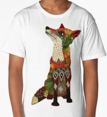 floral fox Long T-Shirt