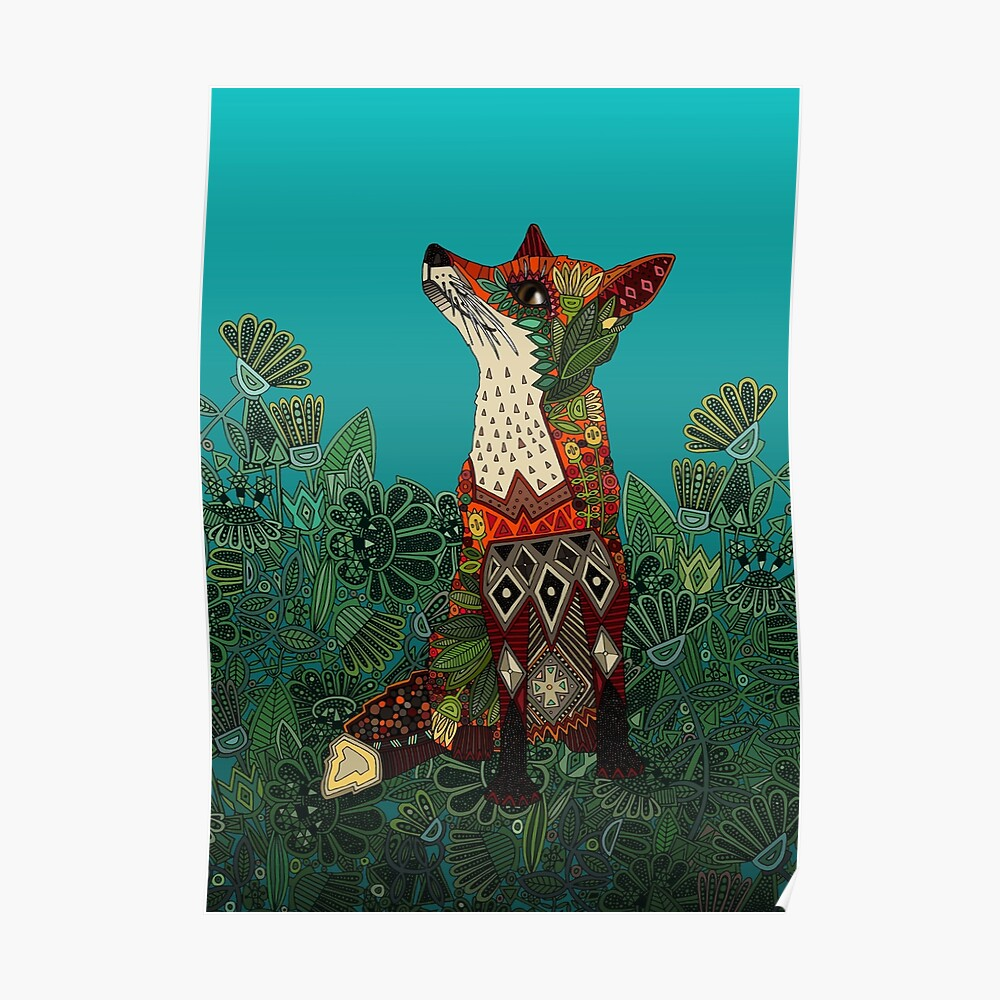 floral fox Poster