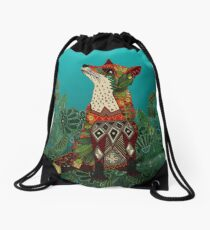 floral fox Drawstring Bag