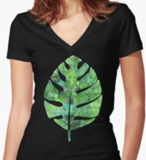 tropical green watercolor (1) Women's Fitted V-Neck T-Shirt