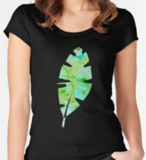 tropical green watercolor (2) Women's Fitted Scoop T-Shirt