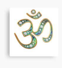 OM, gold rimmed, diamond enriched abalone (floating) Metal Print