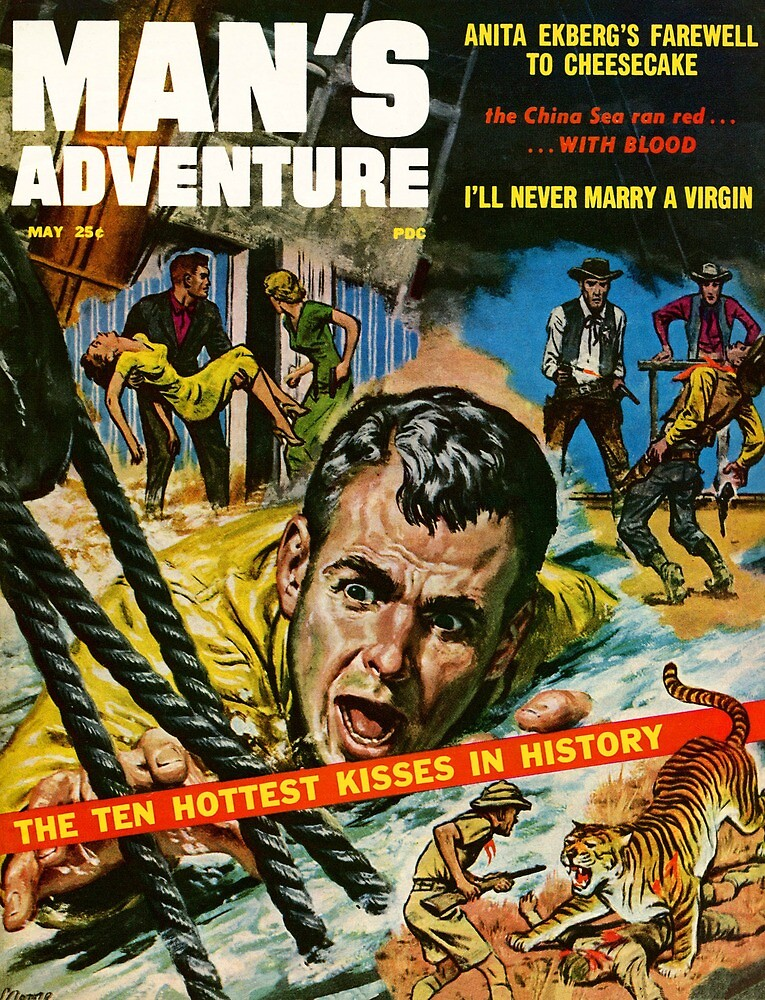 Vintage Man's Adventure Stories Cowboys and Tigers by pdgraphics