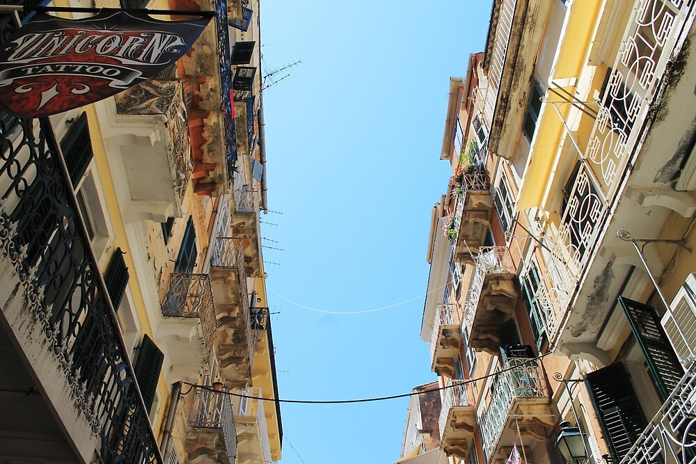 Balconies of Corfu by tills