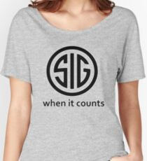 SIG Sauer Firearms Logo When it counts Women's Relaxed Fit T-Shirt