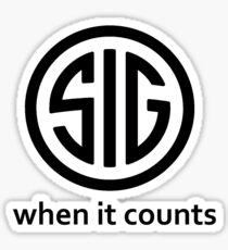 SIG Sauer Firearms Logo When it counts Sticker