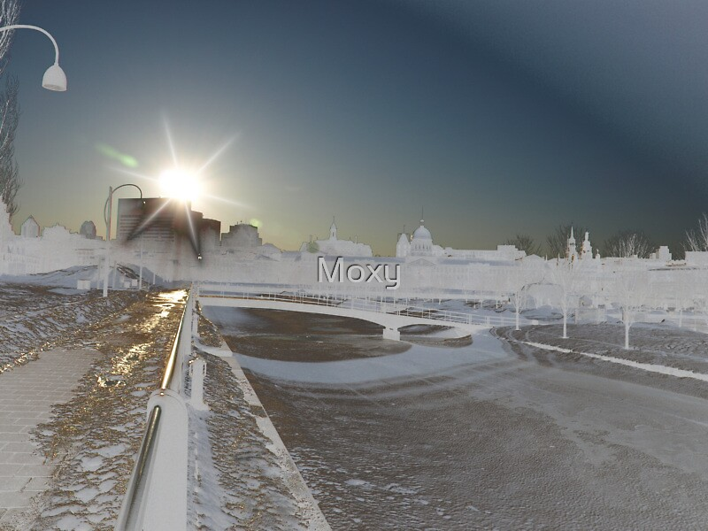 Altered Sunset at the Old Port of Montreal by Moxy