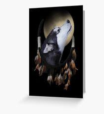 Native American Dream Catcher Wolf Husky Dog  Greeting Card