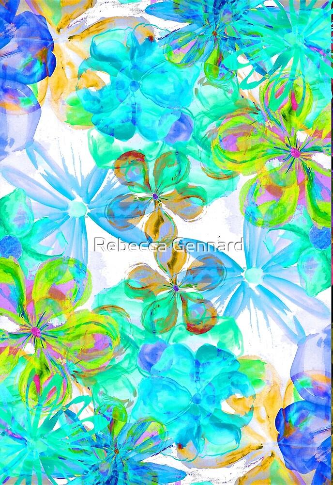 Painterly Florals-light blue by Rebecca Gennard