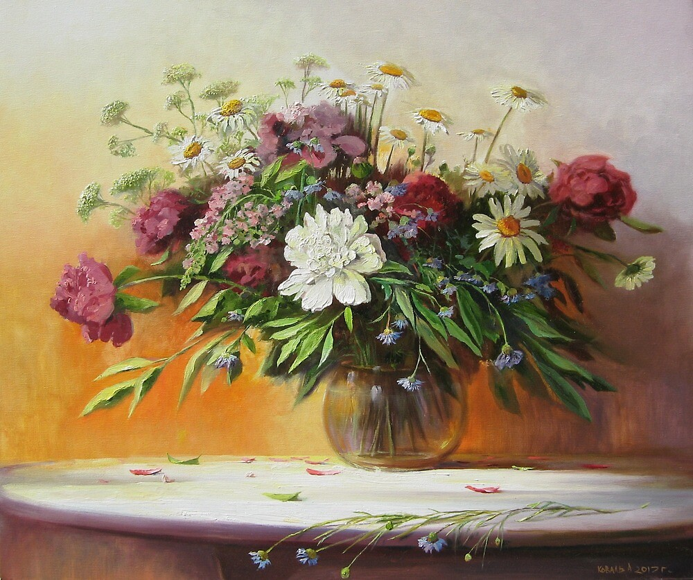Peonies and chamomiles by Alexander Koval
