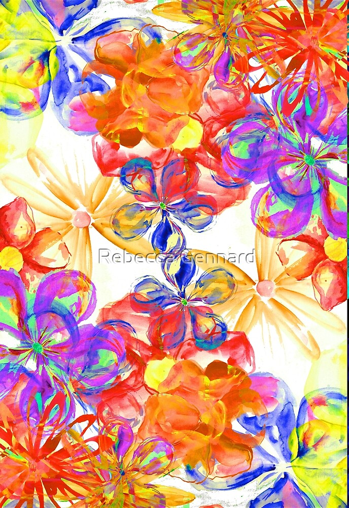 Paintely Flowers- Primary colours by Rebecca Gennard