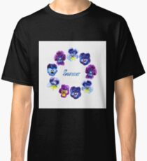 Boarder with hand drawn pansy flowers. Summer lettering Classic T-Shirt