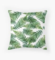 Watercolor summer insulated fern on white background Throw Pillow
