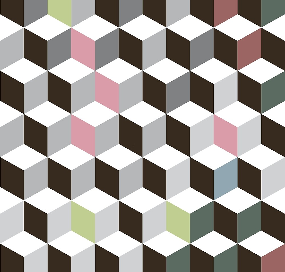 Pattern with a retro style in green and pink by LuisCasimiro