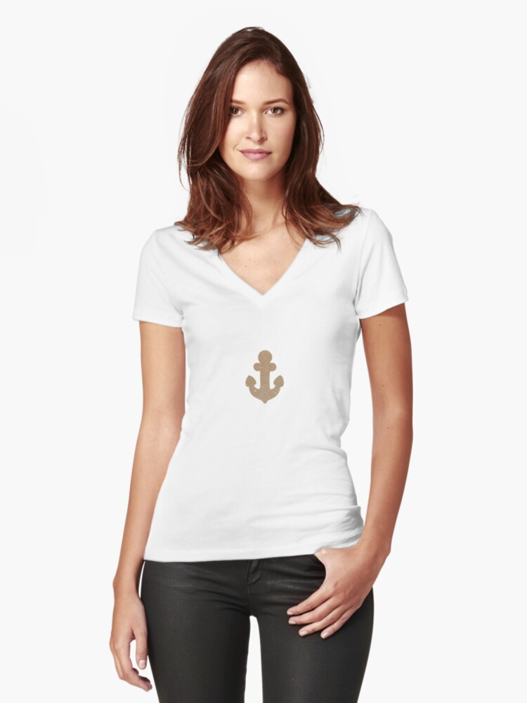 Gold glittering anchors Women's Fitted V-Neck T-Shirt Front