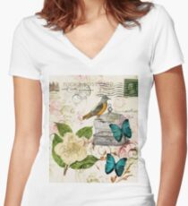 shabby chic teal butterfly french bird rose botanical floral  Women's Fitted V-Neck T-Shirt