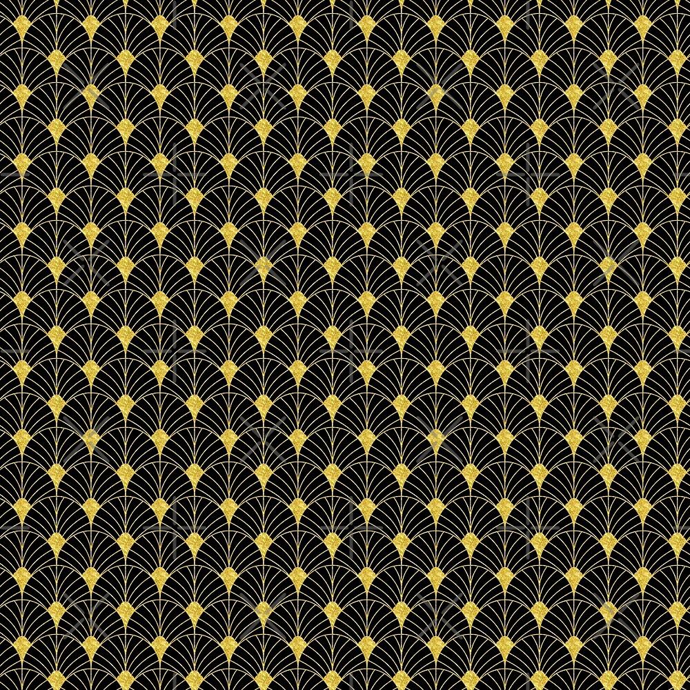 Gold And Black Artdeco Geometric Pattern by artonwear