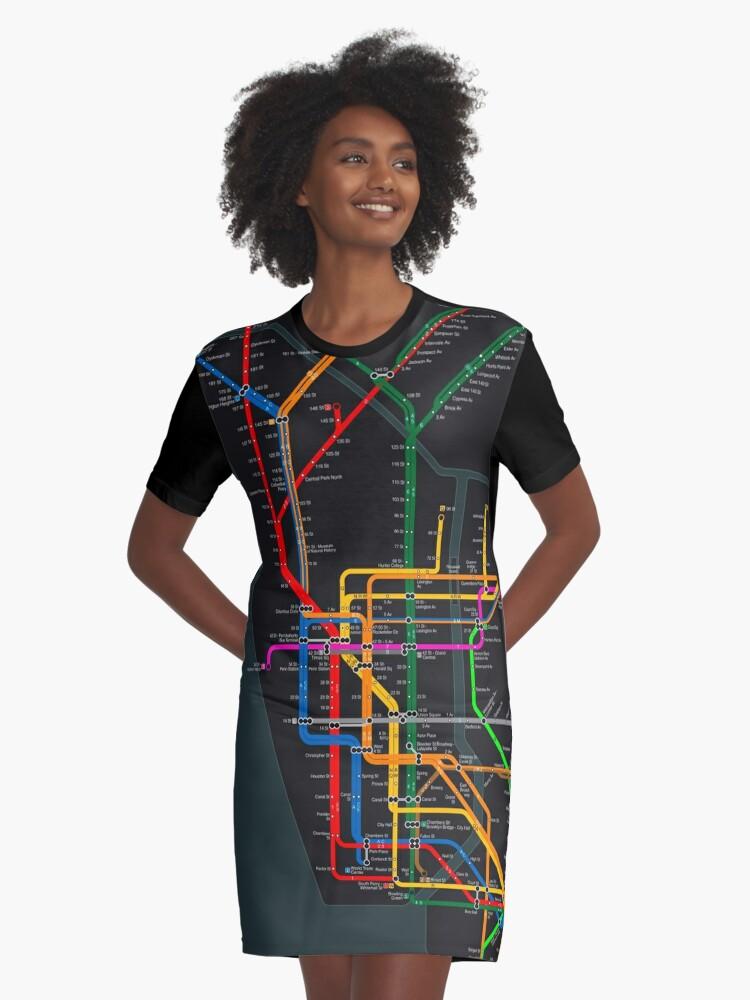 Nyc Subway Map Shirt.New York City Dark Subway Map Graphic T Shirt Dress By Elmindo