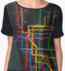 New York City dark subway map Chiffon Top