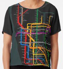 Blusa Mapa del metro oscuro de la ciudad de Nueva York
