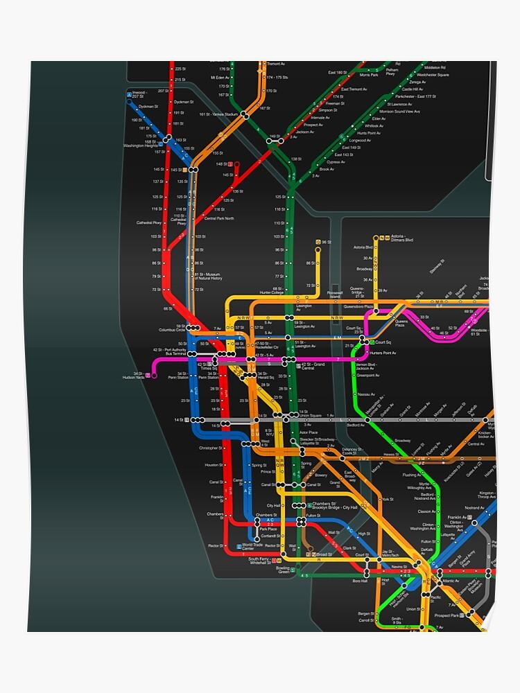 Nyc Subway Map Dark.New York City Dark Subway Map Poster