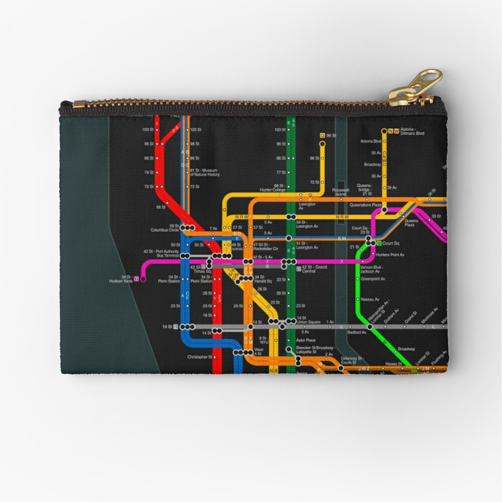 Nyc Subway Map Zippered Wallet.New York City Dark Subway Map Zipper Pouch