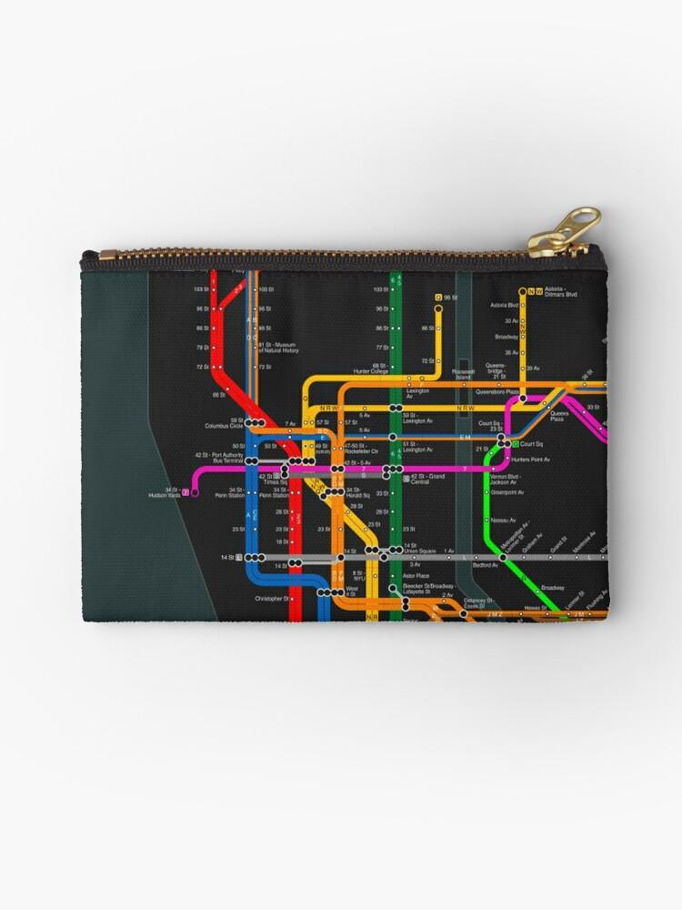 New York Subway Map Wallet.New York City Dark Subway Map Zipper Pouch By Elmindo