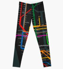 New York City dark subway map Leggings