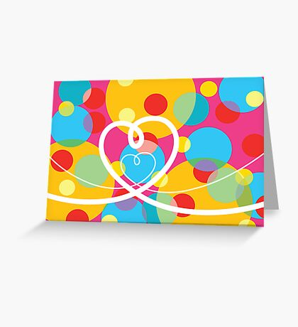 Color Pop Dots and Loopy Hearts  Greeting Card
